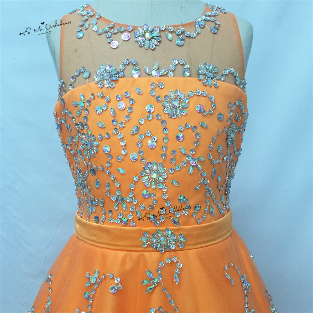 Vestido de Daminha Sweet Orange Ball Gown Pageant Dresses for Little Girls Bridesmaid Dress 2017 First Communion Dresses Beaded - 3
