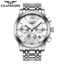 2016 Men's Watches New Luxury GUANQIN Top Brand Double Butterfly Buckle Clock Waterproof Stainless Steel Quartz Wrist watches