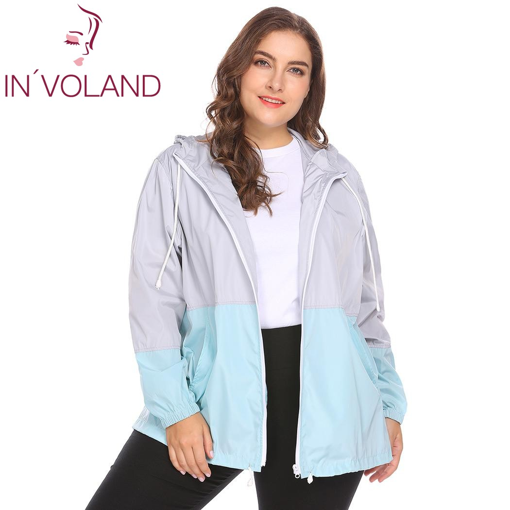 IN'VOLAND Women Raincoat Plus Size 5XL Autumn Lightweight Hooded Drawstring Patchwork Waterproof Wind Coat Women Large Size