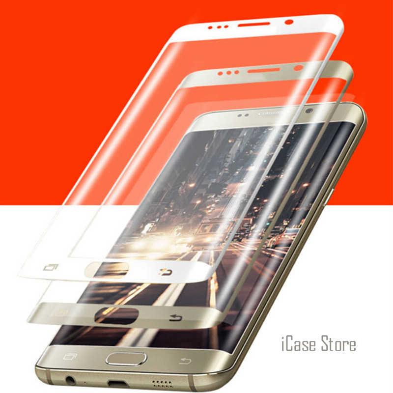 9 H 3D منحني سطح كامل غطاء شاشة واقية من الانفجار المقسى زجاج عليه طبقة غشاء رقيقة لسامسونج غالاكسي S6 حافة S7 حامي شاشة بحافة ناتئة