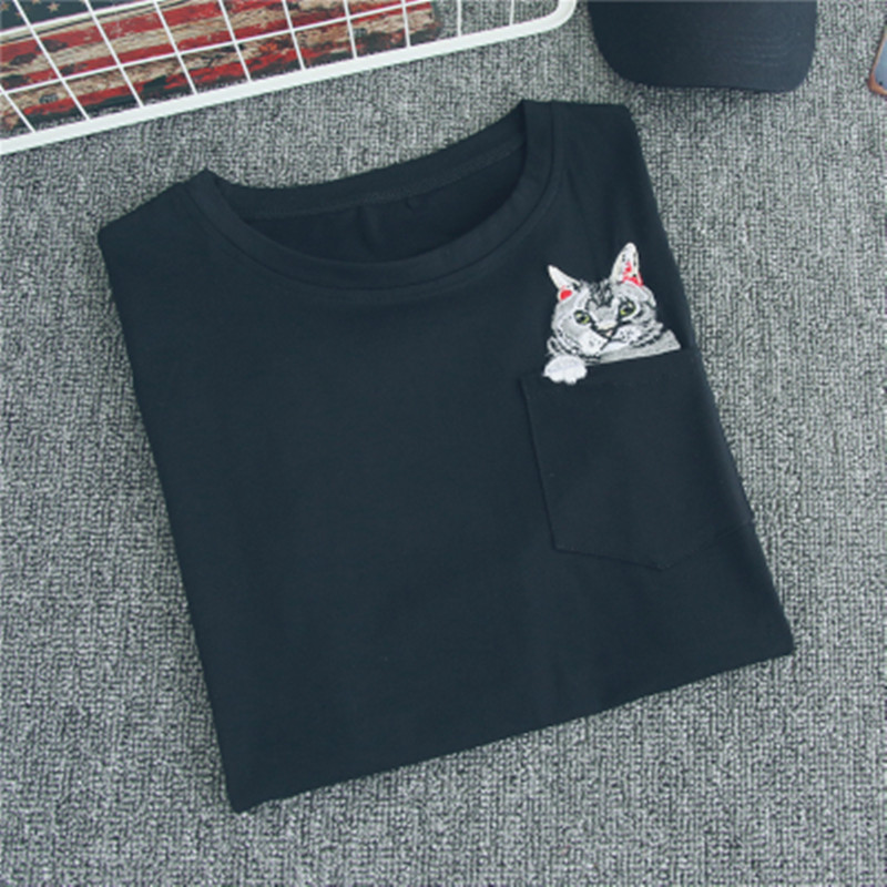 <font><b>6</b></font> models 2018 summer Hong Kong style casual T <font><b>shirt</b></font> creative pocket cat embroidery fashion best friends T <font><b>shirt</b></font> S-XXXL 69 image