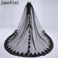 JaneVini Vintage Black Wedding Veils Cathedral One Layer Appliques Edge Sequined 3M Tulle Long Bridal Veils with Comb Voile Noir