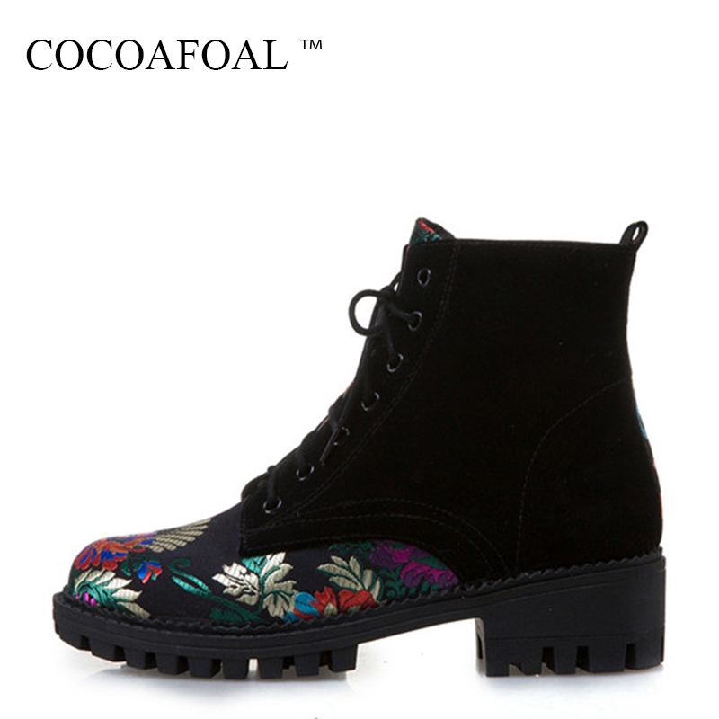 COCOAFOAL Women's Round Toe Ankle Boots Autumn Winter Plus Size 34 - 43 Black High Heeled Shoes Sexy Lace Up Martin Boots 2018