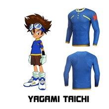 цены на Japanese Anime Digimon Taichi Fitness Men Top Tee Long Sleeve 3D Print Cartoon T shirt Compression Sports Muscle Casual Tops  в интернет-магазинах