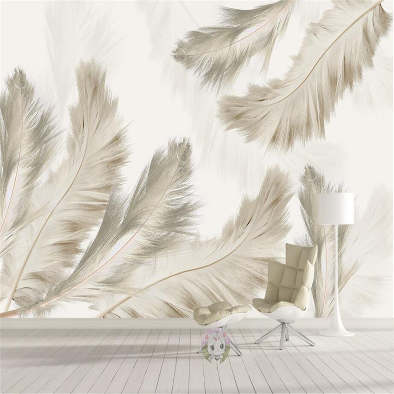 Custom Photo Wallpapers for Walls 3D Stereoscopic Murals Light Grey Feather Wallpappers for Living Room Home Decor Wall Papers shinehome sunflower bloom retro wallpaper for 3d rooms walls wallpapers for 3 d living room home wall paper murals mural roll