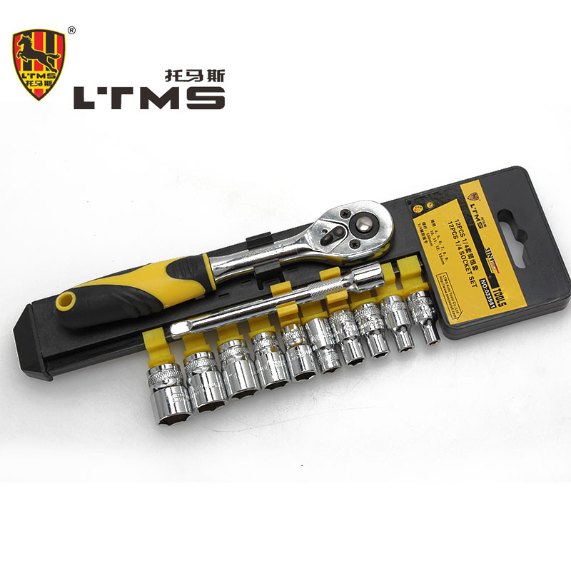 12PCS Sleeve Set Combination Ratchet Wrench Chrome Vanadium Steel Sleeve Tools Group Setting Toolkit Family Tool Set Car Repair 10 12 13 14 15mm chrome vanadium quick release ratchet combination wrench spanner set torque adjustable monkey wrench