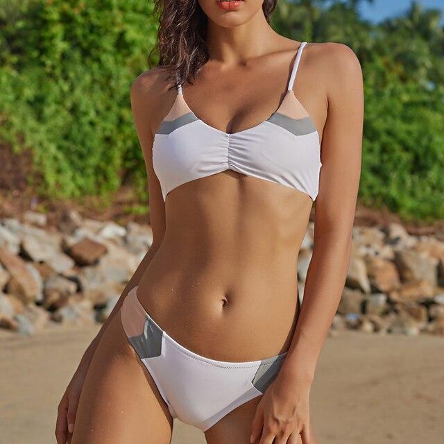 f0a8edaa29f7b3 2019 Badmode Sexy Braziliaanse Patchwork Bikini set Vrouwen Badpak  Vrouwelijke Zomer Leuke Bikini Halter Strand Badpak