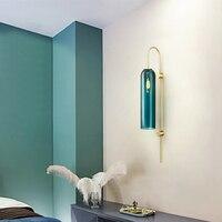Abajures De Vidro Abajur Post Modern Azul Brilho Led Lâmpada de Parede de cabeceira quarto e14 arandela luminária Iluminação Led Lamparas