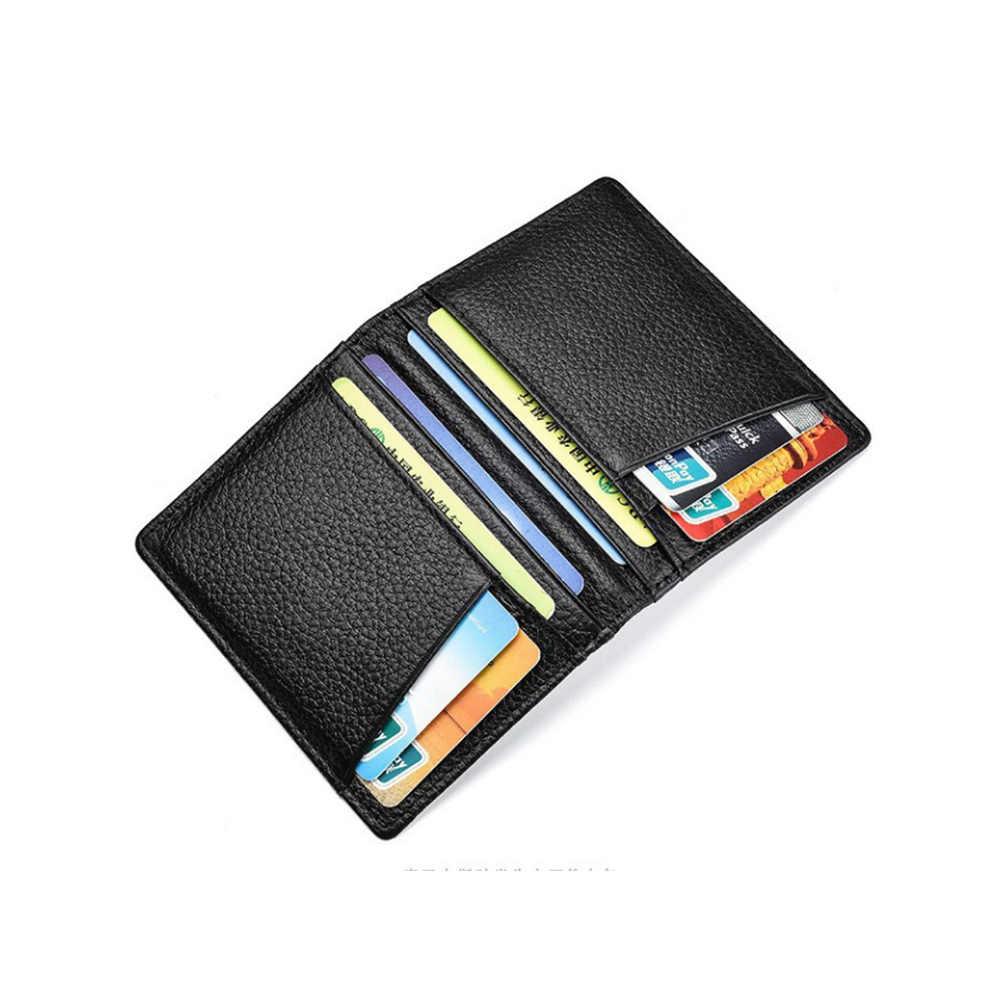 Super Dünne Weiche Mappe 100% Schaffell Echtes Leder Mini Kreditkarte Geldbörse Karte Halter Männer Brieftasche Dünne Kleine