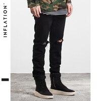 INFLATION Men Fashion Solid Color Straight Ripped Jeans 2016 Denim Overalls Biker Homme Jeans Side Zipper
