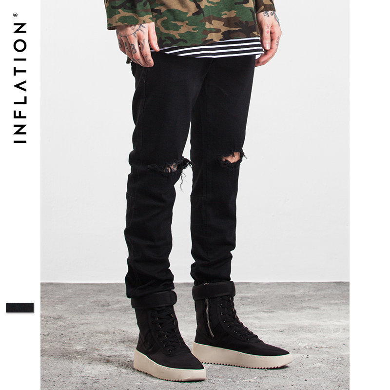 INFLATION 2017  Men Fashion Solid Color Straight Ripped Jeans Denim Overalls Biker Homme Jeans Side Zipper Jeans Free Shipping famous brand mens jeans straight ripped biker jeans for men zipper denim overalls men fashion designer pants blue jeans homme