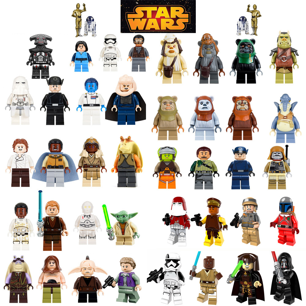 For legoing Star Wars Bricks starwars Luke Leia Han Solo Anakin Darth Vader Yoda Jar Jar Building Blocks Toys legoings figures