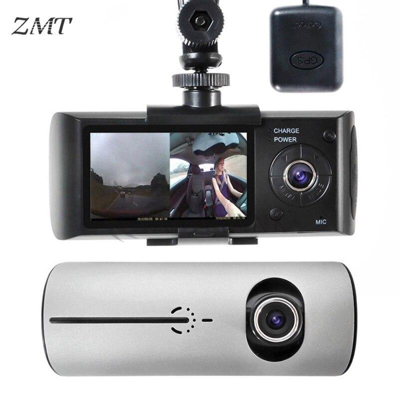 Lente dupla Condução Gravador DVR GPS Embutido Pista de Condução 2.7 Polegada Mini Câmera Detector Frontal Vista Traseira Do Carro Gravador de Vídeo p0146
