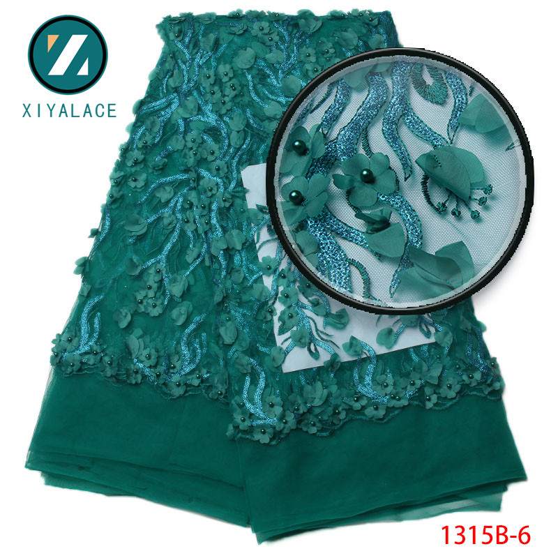 Elegant Applique Nigerian French Tulle Lace Fabric With Beads Teal African Mesh Net Lace Fabric For