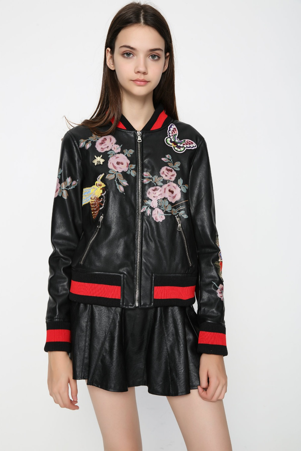 Leather jacket europe - Aliexpress Com Buy 2016 Hot Europe Winter Flower Bees Butterfly Embroidery Pu Leather Jacket Women 2016 Fashion Print Slim Baesball Basic Coat From