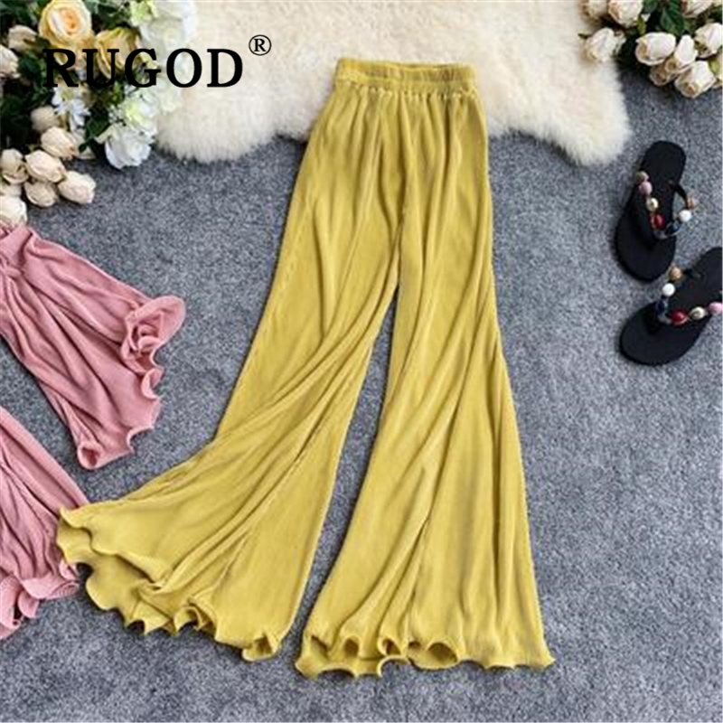 RUGOD Korean chic solid   wide     leg     pants   women Vintage Flare elastic hight waist casual Pleated trouser female Office wear Fashion