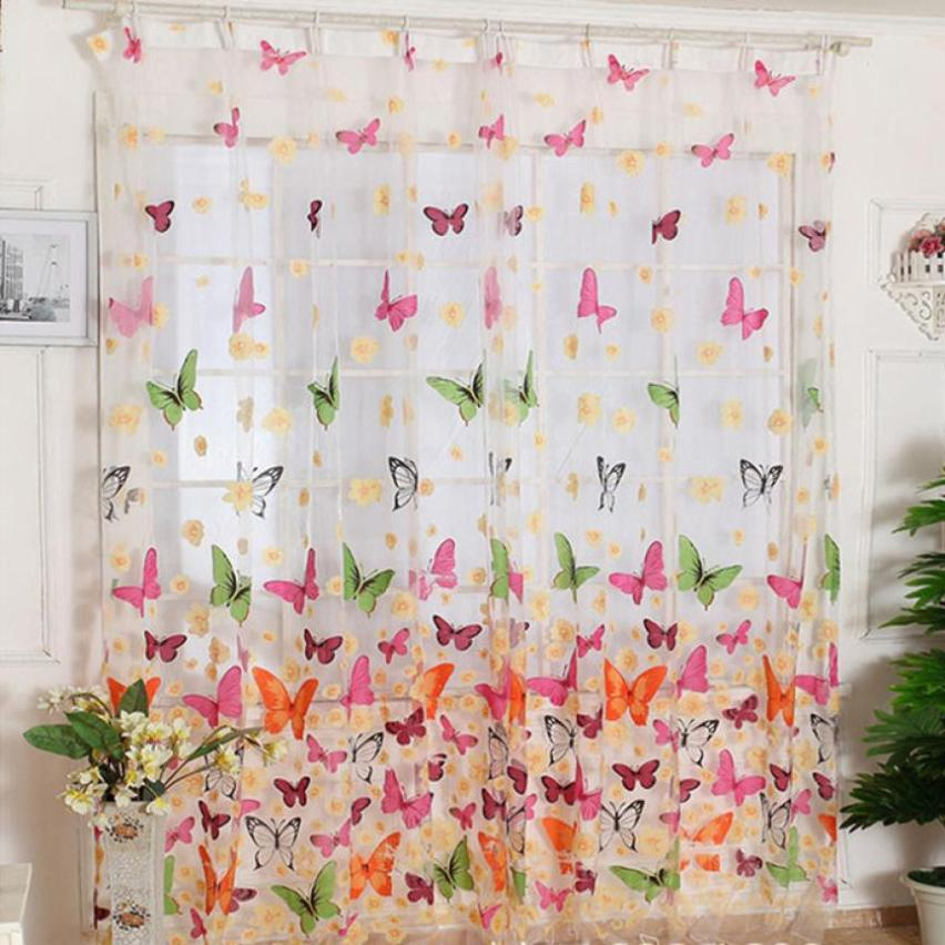 Ouneed Hot!Butterfly Print Sheer Window Panel Curtains Room Divider New For Living Room Bedroom Girl 200*100CM wholesale A30