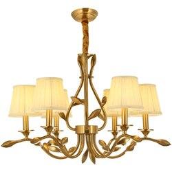 Amerykański miedziany żyrandol światła tkaniny abażur lampa wisząca Kung europa styl lampy światła salon restauracja home decoration w Wiszące lampki od Lampy i oświetlenie na