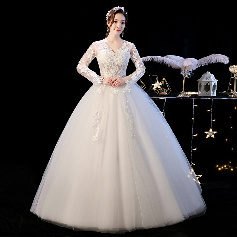 2019 New Vintage Sexy V Neck Long Sleeve Wedding Dress Simple Flower Lace Perspective Floor-length Ball Gown Robe De Mariee L