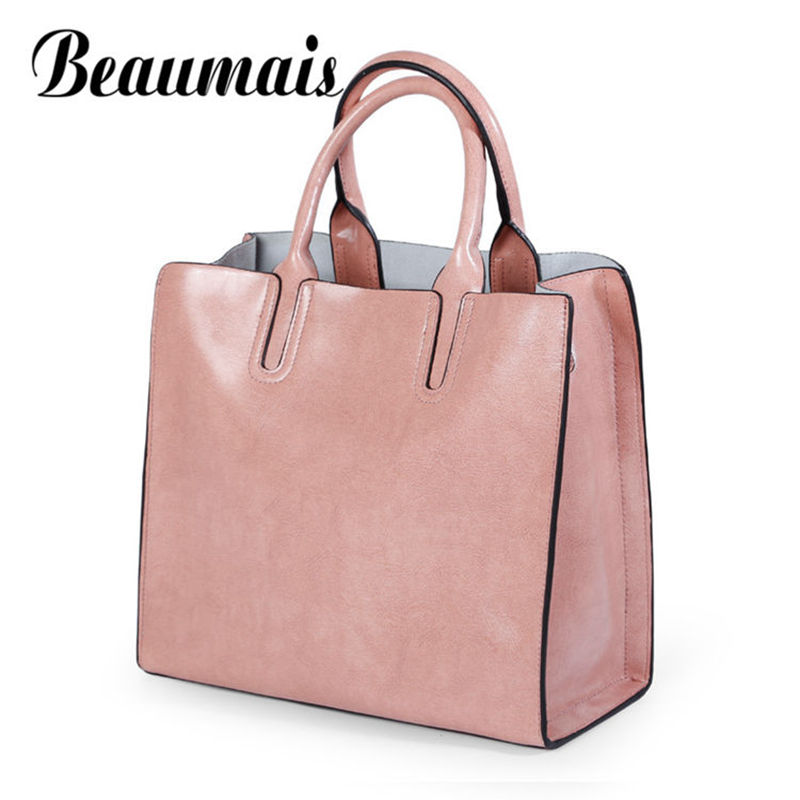 Beaumais Real Cow Leather Ladies HandBags Women Genuine Leather Bags Soft Simple Totes Large Capacity Bag Female Bag DF0144