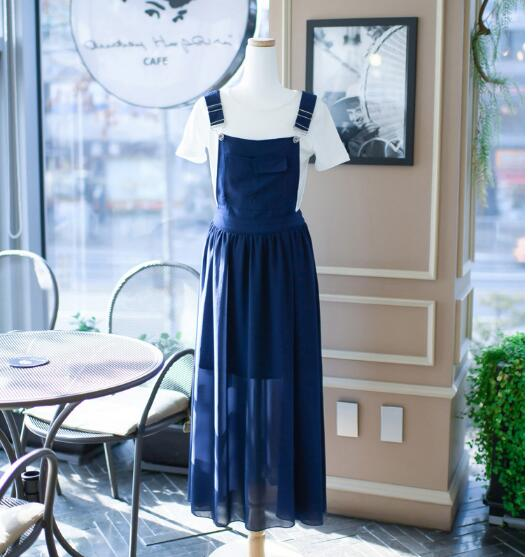 Free Hot Sale O-neck Ankle-length Shipingeurope And The 2019 Summer Girl Sweet New Fashion Strap Dress Women's Chiffon Suit 6