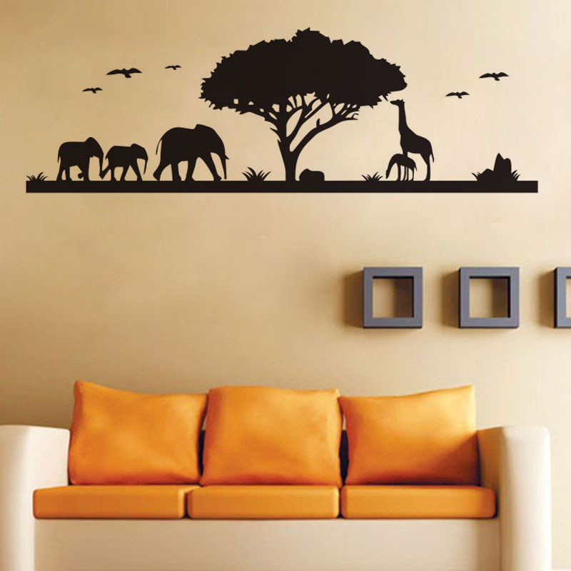 Animals Elephant Giraffe Wall Stickers Forest Vinyl Tree Decals - Wall decals animalsafrican savannah wall sticker decoration great trees with