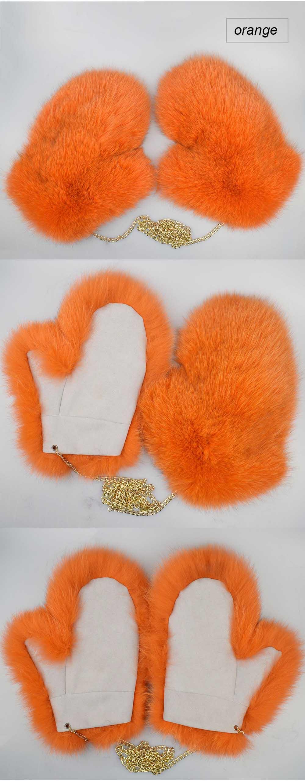 fox fur gloves color orange
