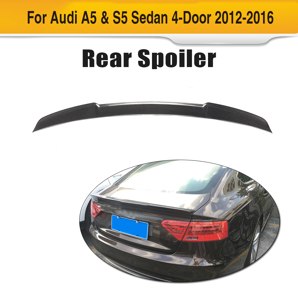 Carbon Fiber Rear Spoiler Trunk Lip Wing For Audi A5 S5 Sedan 4 Door 2012 2013 2014 2015 2016