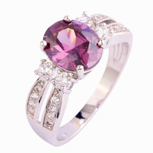 Art Deco Oval Cut Purple White CZ Silver Color Ring Size 6 7 8 9 10 11 New Fashion Jewelry Round Gift For Women Wholesale Trendy