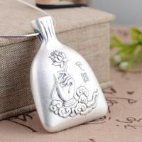 Xiangyuan wholesale sterling silver S990 fine silver pendant antique Bergamot women heart Wenfu Bag Purse sweater
