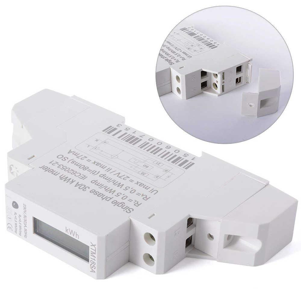 XTM18SA LCD 50Hz 5 (30) A KWH medidor de potencia DIN riel montura pequeños medidores de energía AD286