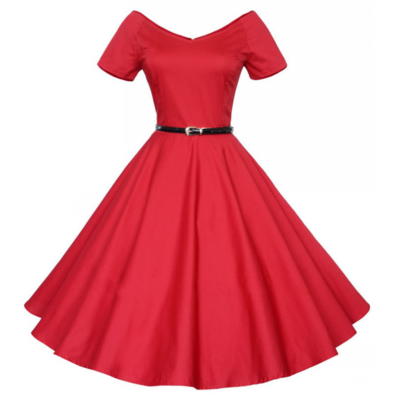 c7d977187680 Women Audrey' Hepburn 1950s 60s Vintage Retro Style Sexy Pin up Rockabilly  Swing 50s Wedding Party Dresses red black royal blue