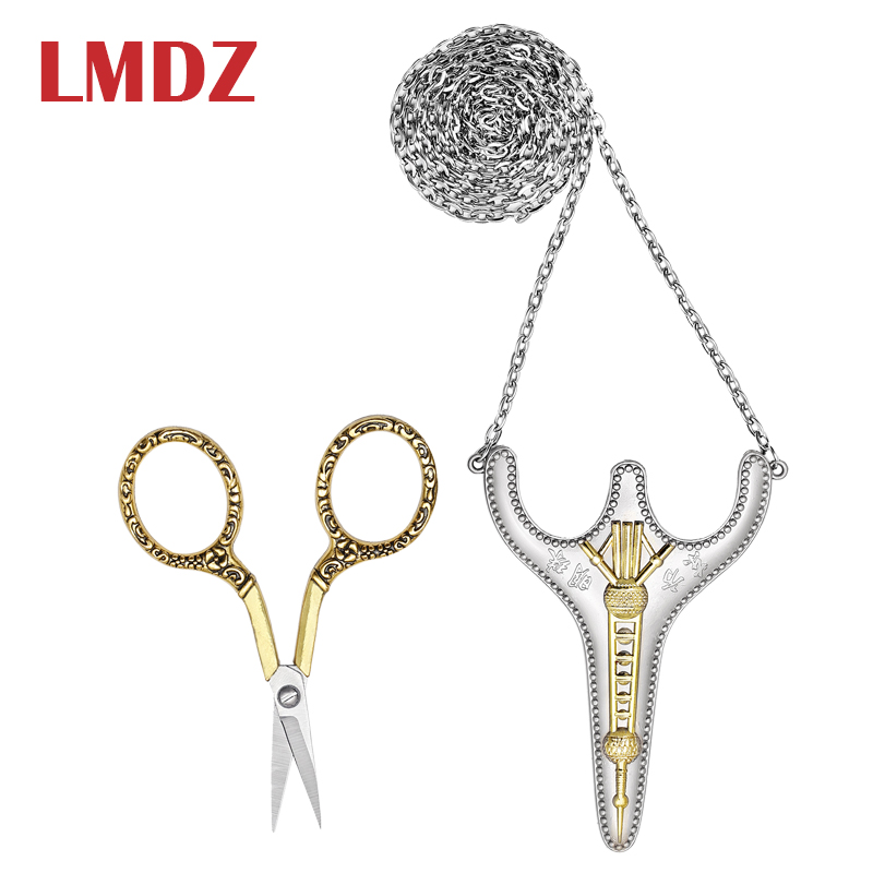 LMDZ Retro Exquisite Scissors Stainless Steel Sharp Tip Sewing Snips Handcraft Thread Cutter Safety Scissors With Sheath Chain