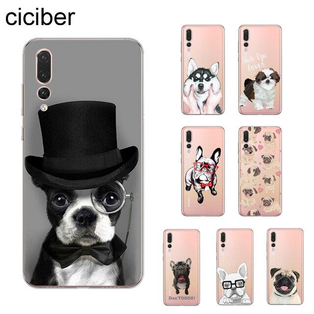 Ciciber Cão pug bulldog Capa Para Huawei P30 P20 P10 P9 P8 Lite Pro Plus 2017 P inteligente 2019 Telefone casos Shell Capa Coque TPU Macio