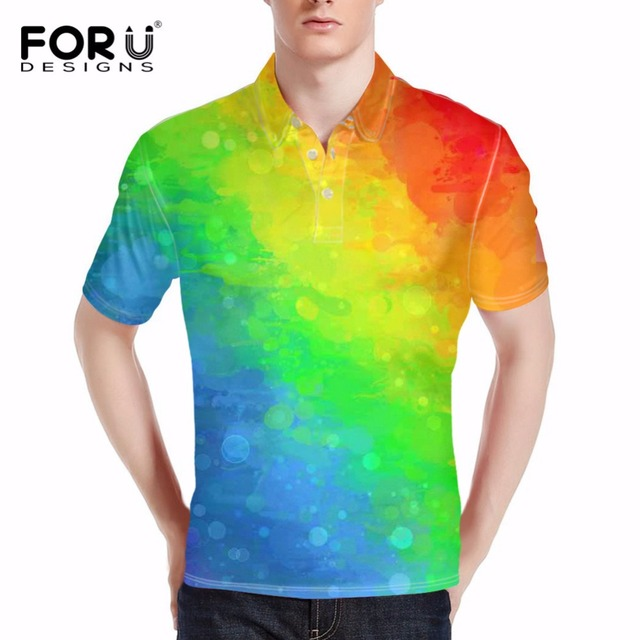 adf1fc846c3 FORUDESIGNS Colorful Geometric Print Women Polo Shirt Men Fashion Short  Sleeve Polo Shirts Male Ventilate Polo Clothes Plus Size