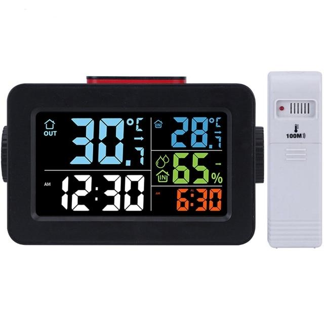 שעון מעורר חם אלחוטי דיגיטלי מדדי לחות מדחום אלחוטי טמפרטורה לחות צג עם תאורה אחורית T