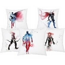 45*45cm Super Hero Logo Polyester Cushion Cover Cartoon Marvel Iron Man Print Pillow Covers Sofa Home Decor Pillowcase