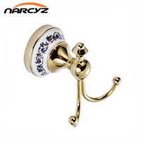 Full copper European antique gold double hook blue and white ceramic base clothes hanging hook 9028K