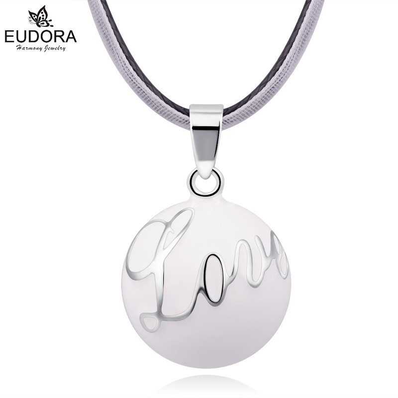 Eudora Angel Caller Baby Chime Ball Blue White Love Letter Harmony Bola Ball Ringing Bola Pendant Necklace Jewelry Pregnant Gift