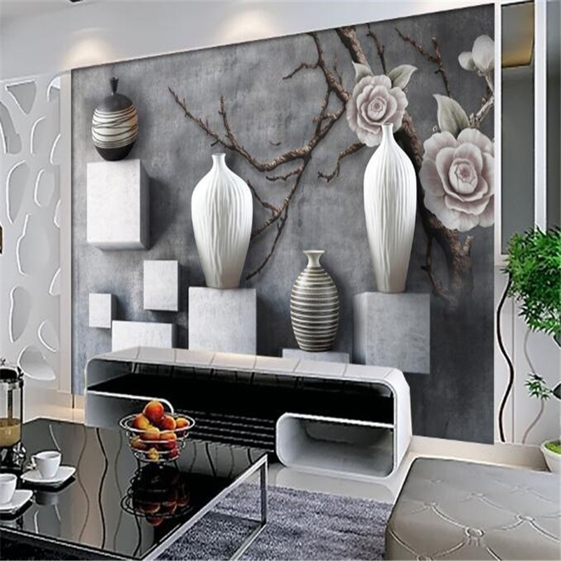 Modern 3d Photos Non-woven Mural Wall Wallpaper Creative Black White Vase 3d TV Background Wall Bedding Room Decoration Wall free shipping hepburn classic black and white photographs women s clothing store cafe background mural non woven wallpaper