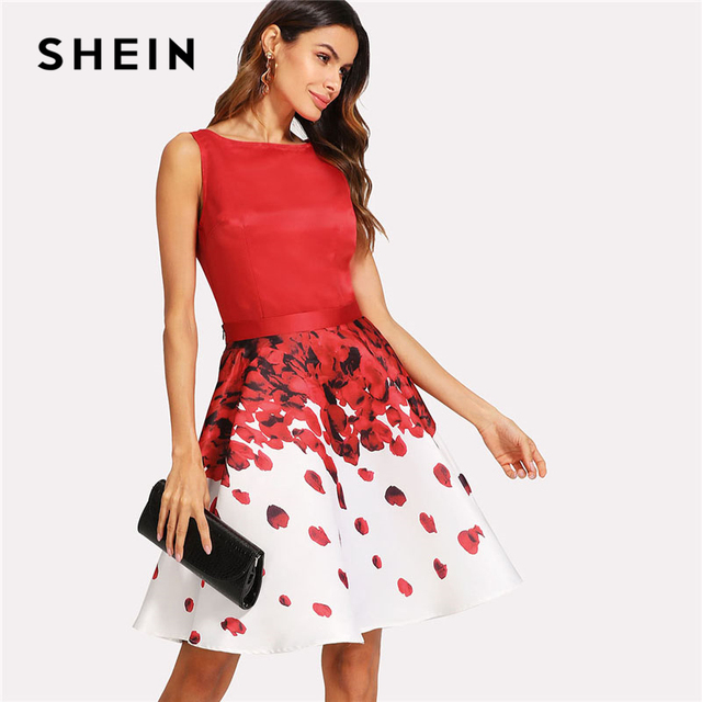 1c4353dcec SHEIN Sleeveless Top And Rose Petal Floral Print Skirt Set Women Round Neck  Zipper Satin 2