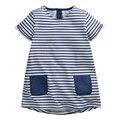 Bebés del verano se Visten, azul marino vestido de La Raya, bolsillos Dobles, de Nuevo los botones, de Algodón casual Kids Clothes, al lado de ropa estilo (1-6 años)