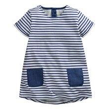 Été Bébé Filles Robe, marine Bande robe, Double poches, Retour boutons, Coton casual Enfants Vêtements, prochaine vêtements style (1-6 ans)