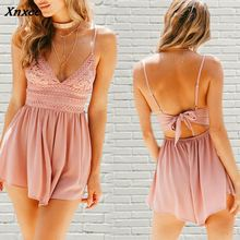 Fashion Lace Spliced Women Playsuit Summer Sleeveless V Neck Backless Sling Sext Jumpsuit Clothes For Women S M L XL Xnxee