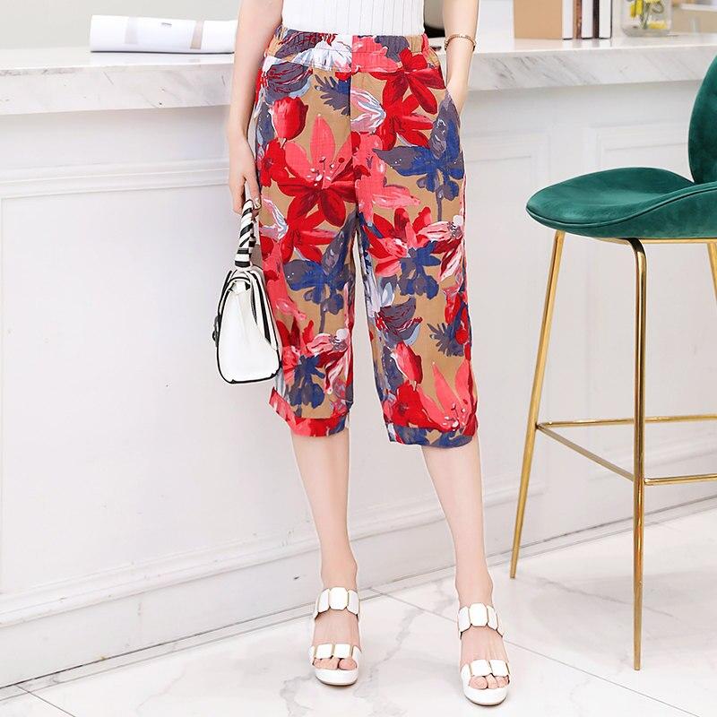 2019 Summer Calf-Length Trousers Women Plus Size Printing Casual Harem Pants Harajuku Elastic waist Pants Plaid Pants Streetwear