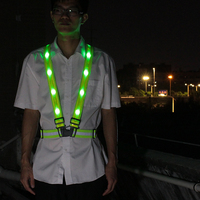 Outdoor Sport Running LED Lights Camping Cycling Flashlight Warning USB Charge Chest Lamp Straps Reflective Vest