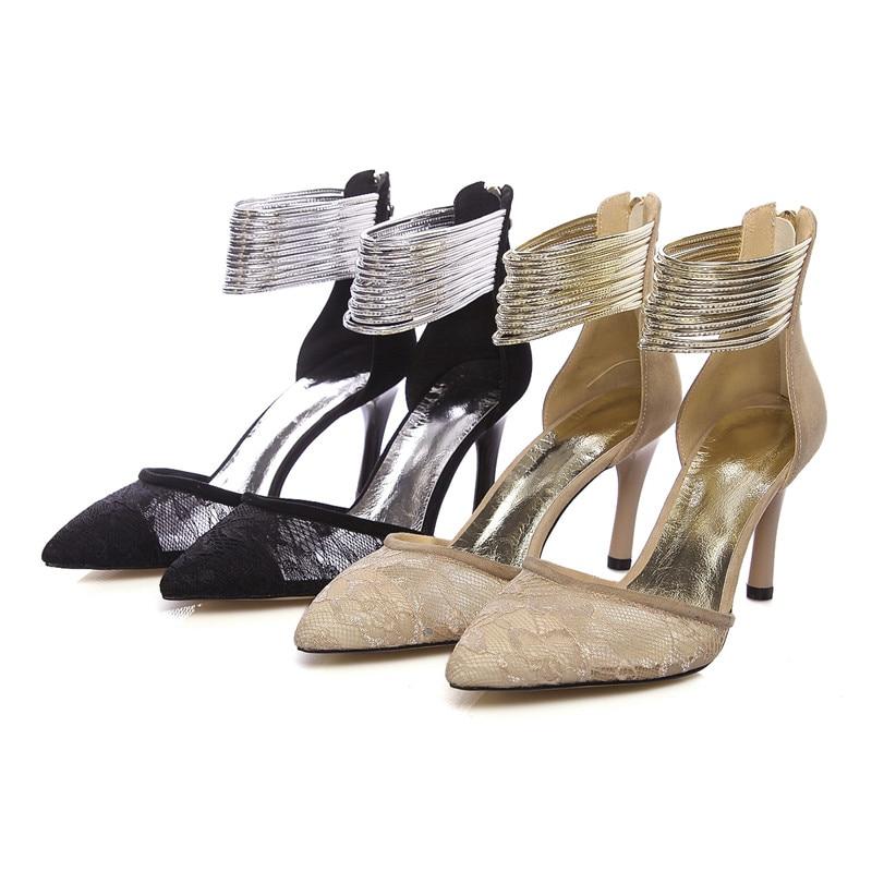 apricot De Transpirables Verano Fiesta Zapatos Primavera Vestido Punta Nueva Bombas Sandalias Tacón Mujeres Las Enmayla Alto Black Encaje Mujer IwCUxa