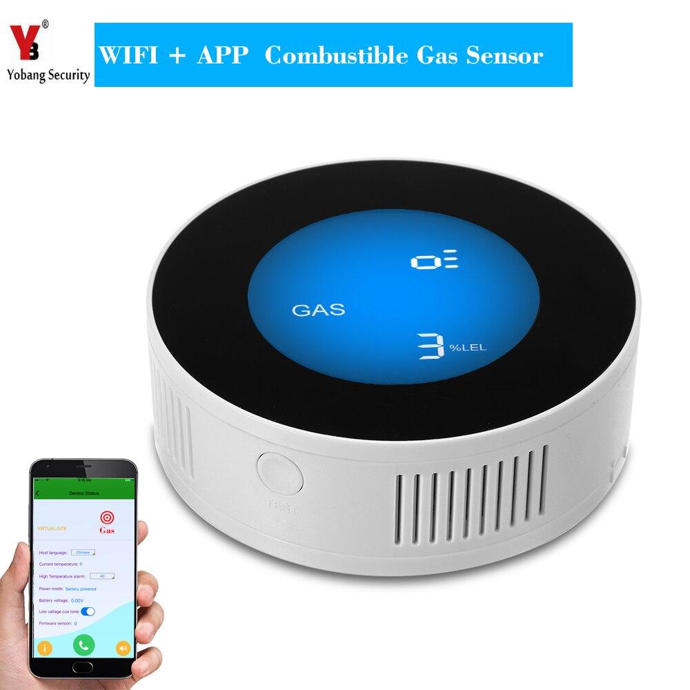 YobangSecurity WIFI Sans Fil APP Télécommande LCD Affichage Combustibles Domestiques Capteur De Fuite De Gaz Détecteur de Gaz Naturel Alarme
