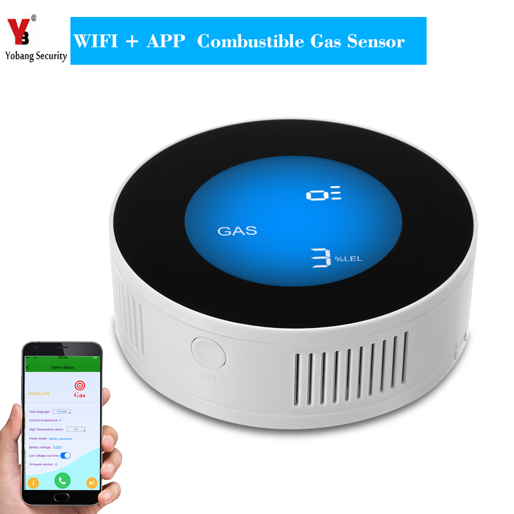 YobangSecurity WIFI Wireless APP Remote Control LCD Display Household Combustible Gas Leak Sensor Detector Natural Gas Alarm smartyiba app control wifi wireless gas detector alarm sensor gas leakage sensor natural gas leak detector
