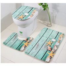 Ocean 3Pcs/set Bathroom Mat Set Flannel Anti-Slip Kitchen Bath Mat Carpet Bathroom Toliet Rug Pad  Washable Mermaid shell